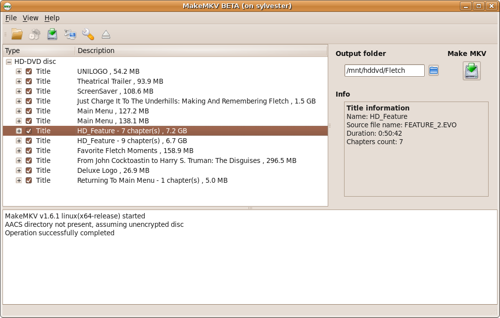 Problems with HD DVD on Linux version - www makemkv com